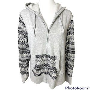 ARIAT Grey Zip Up Hoodie w Crochet Knit Sleeve Detail Sz XL